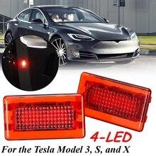 Универсальный для Tesla модель 3 S X 2 шт. автомобиля высокая яркость белый красный светодиод высокой выход интерьер световая дверная лампа лужа ствол свет