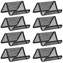 8 Pack Black Metal Mesh Business Card Holder Desk Business Card Organizer for Desk Office Name Card(China)