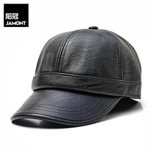 2018 Autumn and winter ear protection baseball cap middle-aged warm hat mens simple light board PU 14135