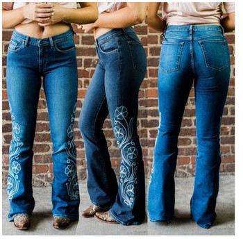 Embroidery Boot Cut Mom Jeans For Women Floral Wide Leg Denim Trousers Woman Long Skinny Flared Jean Pants Vintage Plus Size 3XL blue floral print flared long pants