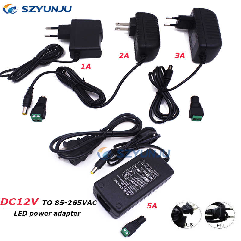 DC12V TO AC100-240V lighting Transformes output DC12V 1A 2A 3 5A EU US LED Power Adapterlight For 5630 5050 LED strip