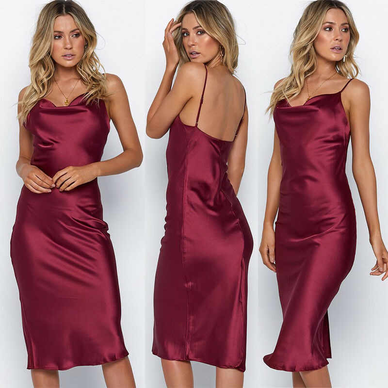 Elegante frauen Sommer Satin Kleid Casual Sleeveless Strap Party Weiche Solide Backless Damen Dünne Kleider Strand Sommerkleid