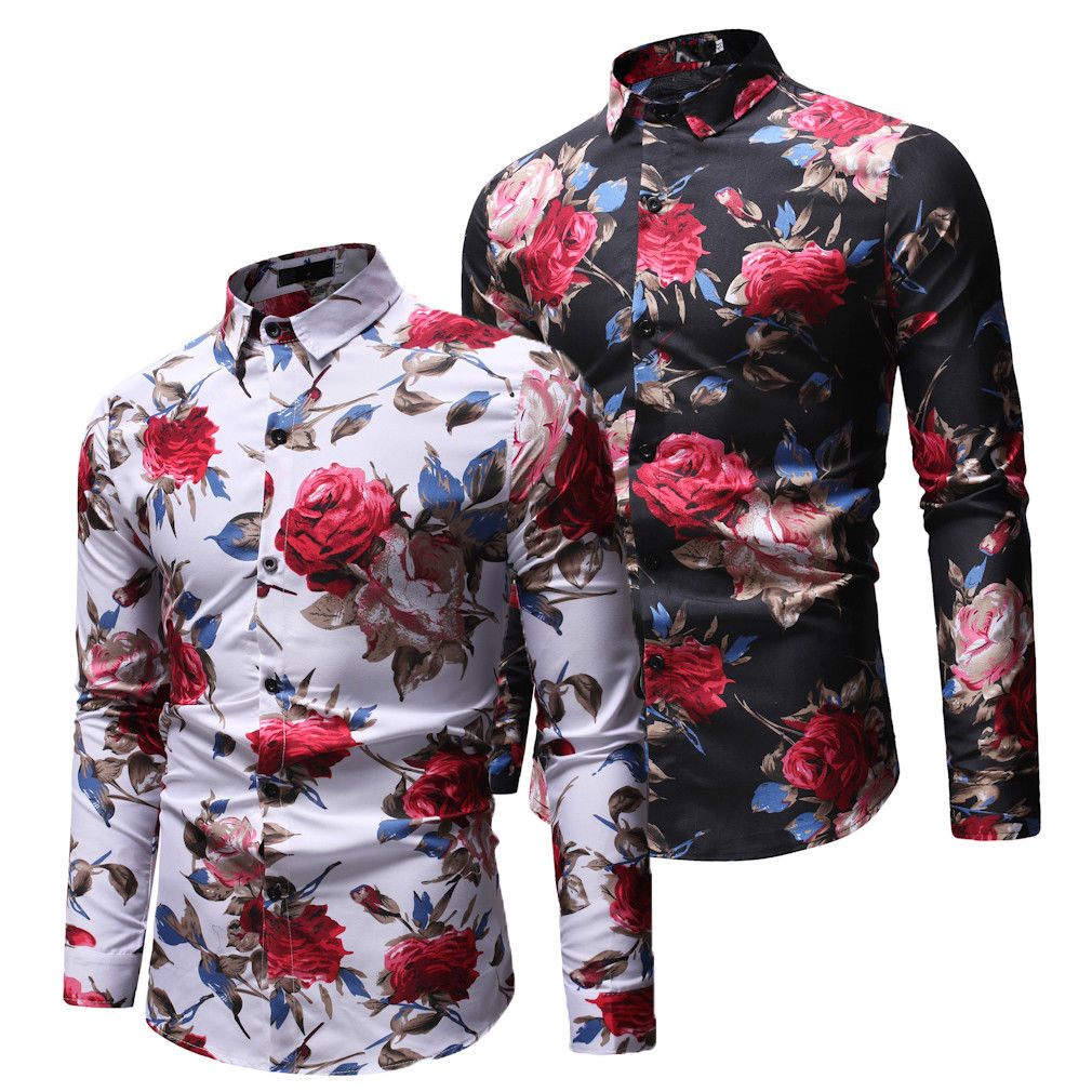 Men's Slim Long Sleeve V Neck Button Collar Casual Shirt Basic Tops Tee Flower Single Breasted Turn Down Collar Cloth Autumn
