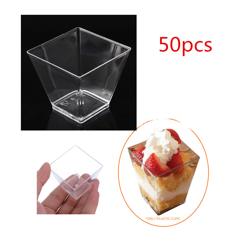 50Pcs 60ml Mini Disposable Food Dessert Cup Portion Cups For Pudding Yogurt Clear Plastic Dish Decor Containers