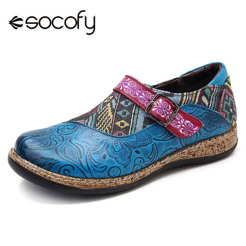 SOCOFY rétro boucle sangle en cuir véritable épissure Jacquard motif doux crochet boucle Zipper Vintage confortable chaussures plates nouveau
