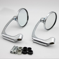 1 Pair Plating Motorcycle Round Rearview Rear View Mirrors 10mm