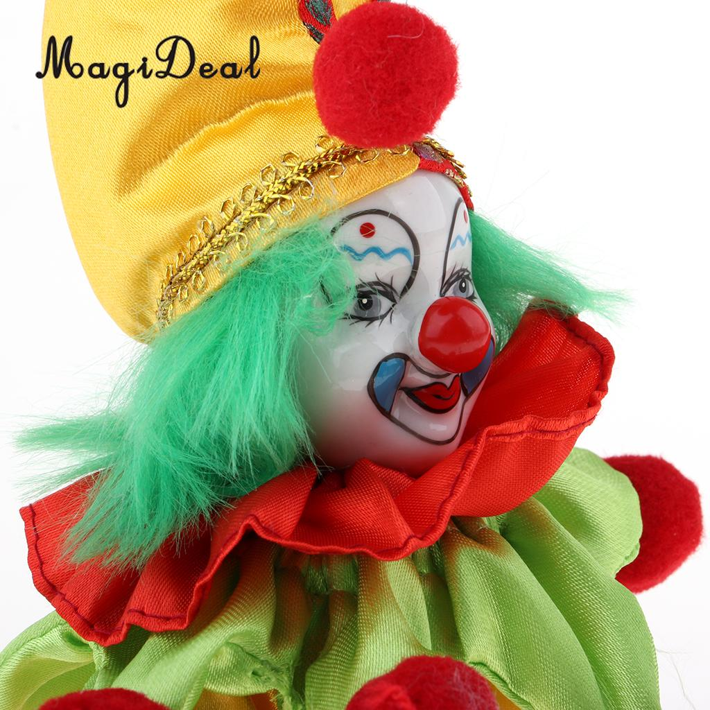 Funny Clown Porcelain Doll in Colorful Costume Christmas Gift Decoration #4