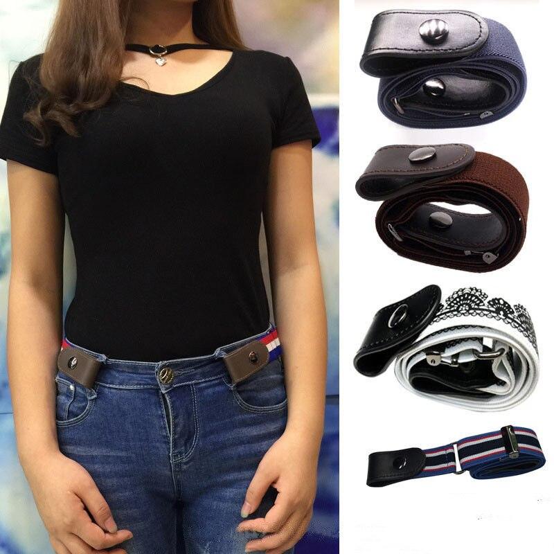 De moda cinturones de lona hebilla-hebilla elástica sin los hombres y las mujeres Invisible cinturones para Jean sin hebilla de cinturón de cintura