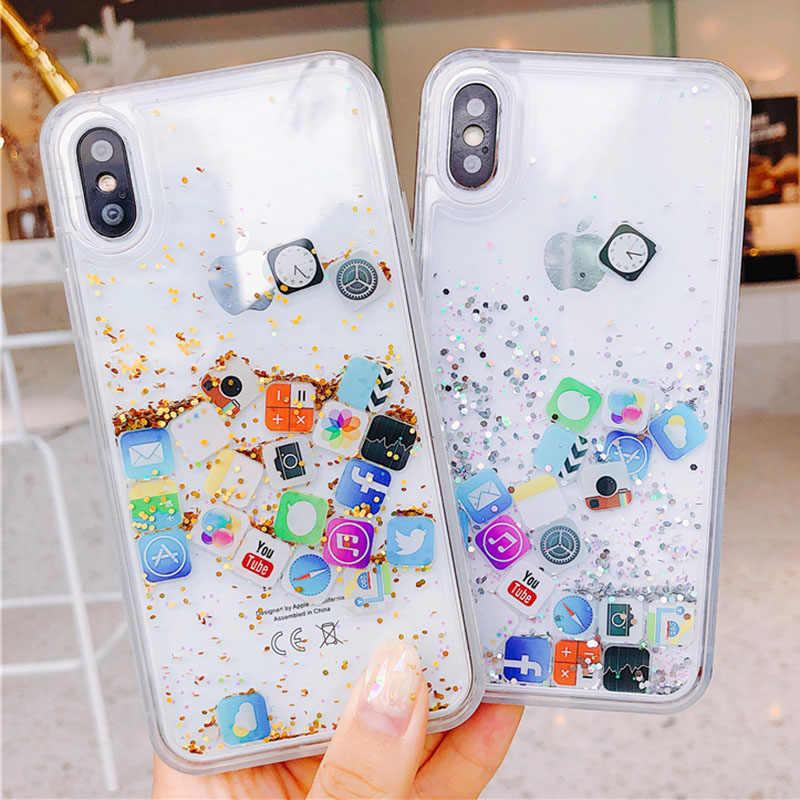 e7b779fad6 Cute Apps Icon Phone For iPhone 6 Case 7 8 6S Plus Silicon Rubber Glitter  Liquid