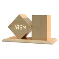Fashion Desktop Digital Wooden LED Alarm Clock with Sounds Control Temperature Pen Holder Random Display Color