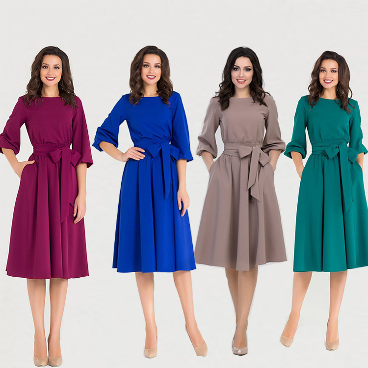 Nice Fashion Female Autumn Or Winter New Design Women Long Dress Solid Color Lace-u Blue Green Wine Red Dresses