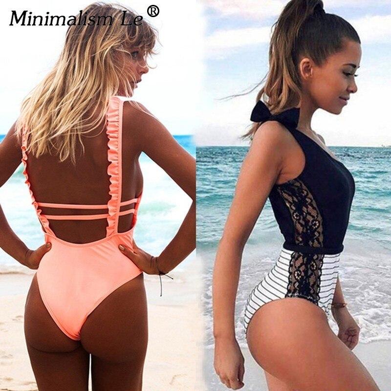 fbcd7826fa0a Minimalismo Le 2019 Sexy Dell'increspatura Della Stampa del Bikini  Fasciatura Delle Donne di Un Pezzo del Costume Da Bagno Del Merletto Costumi  Da Bagno ...