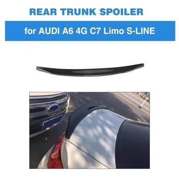 For Audi A6 A6Q 4G C7 S6 Sline 2012 - 2018 Rear Trunk Lip Spoiler Boot Wing Lip Carbon Fiber