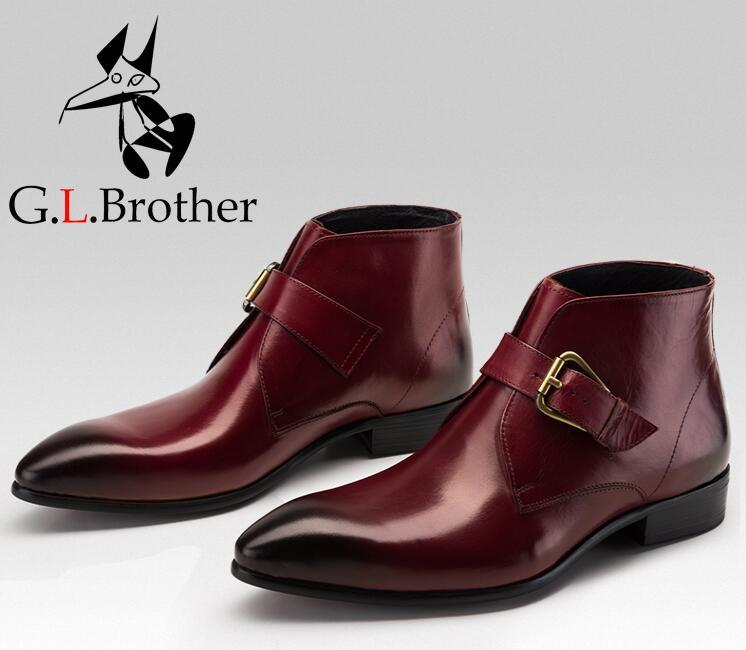 Dress Shoes Men Slip On Buckle Strap Genuine Leather Pointed Toes Ankle Boots Smart Casual Height Increasing Shoes Martin Boots клюшка для гольфа maruman prestigio super7 3 5 woods r s ems majesty prestigio super7 page 7