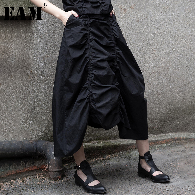 [EAM] 2020 New Spring Summer High Elastic Waist Black Pleated Irregular Hem Personality Half-body Skirt Women Fashion Tide JT541