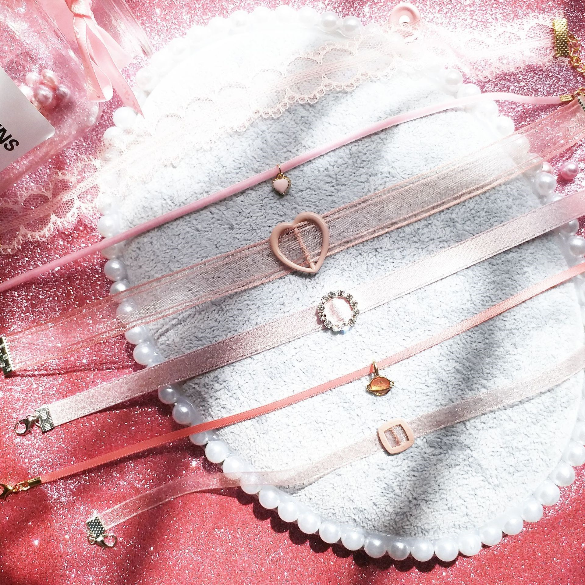 Women Cute Romantic Sweet Chokers Fashion Necklaces Pink Lace Flower Velvet Wide Chokers Causal Necklace in Pendant Necklaces from Jewelry Accessories