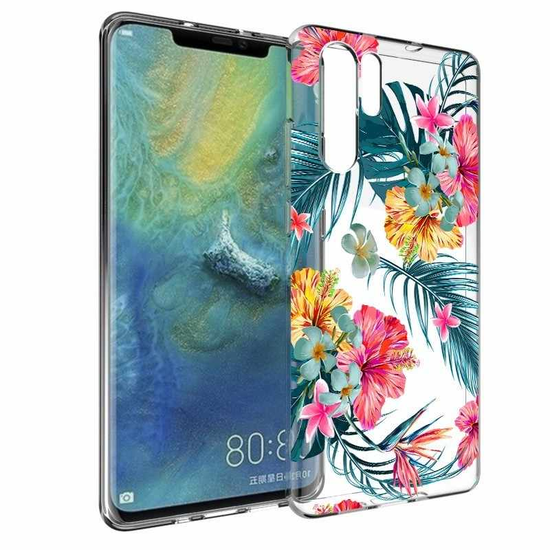 Phone Case For Huawei P8 P9 P10 P20 P30 Lite Pro Mate 10 20 P Smart Plus Y6 2019 Floral Silicone Cases Clear Tpu Soft Slim Cover