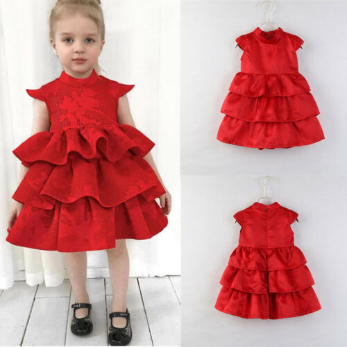 UK Baby Kids Girl Princess Sleeveless Bridesmaid Party Wedding Tulle Red Dress