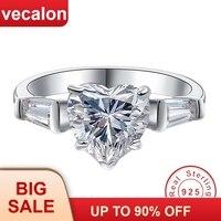 Vecalon Настоящее серебро 925 проба кольцо в форме сердца 5A Цирконий, фианит обручение обручальное кольца для женщин подарок для невесты