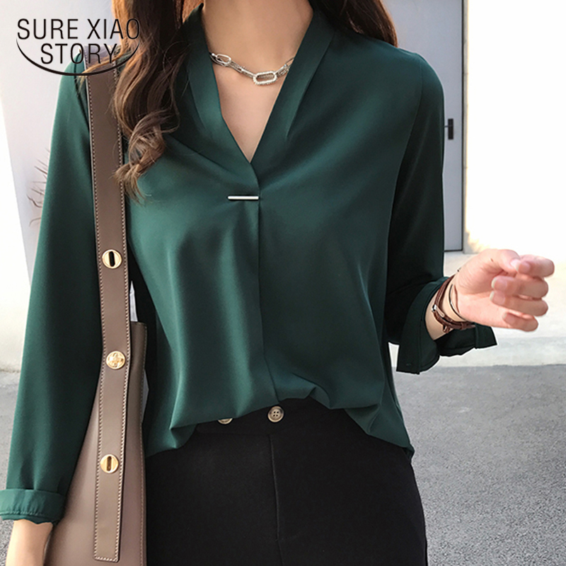 women chiffon   blouse     shirt   long sleeve women   shirts   fashion womens tops and   blouses   2018 3XL 4XL plus size women tops 1681 50