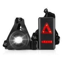d59f305d9db 20 m USB Rechargeable IP65 Nuit Courir Sport LED Lumière Lampe De La  Poitrine avec Rouge Feu Arrière Avertissement de lampe de P..