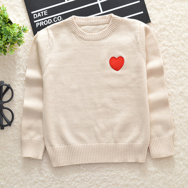 In The Spring of  New Boys and Girls Love Embroidery Cotton Sweater Turtleneck Sweaters Size 2-7 Years
