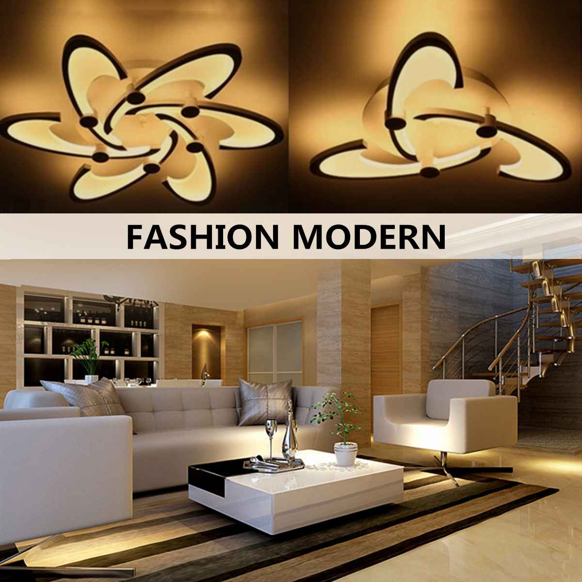 Adroit Modern Remote Control Indoor Lighting Acrylic Ceiling Light For Living Room Nordic Minimalist Flower Led Warm Lamp Warm Lamp