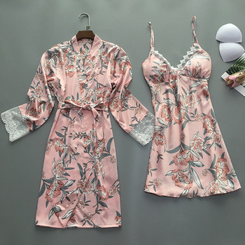 2019 verano mujeres Robe Gown Sets con pecho Pads Sexy satén ropa de dormir encaje camisón batas de dama de honor de la novia pijama de seda
