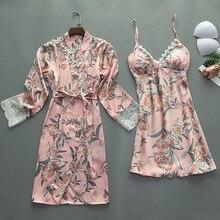 2019 קיץ נשים שמלת חלוק סטי עם רפידות חזה סקסי סאטן הלבשת תחרה כותונת הכלה שושבינה גלימות משי Pyjama