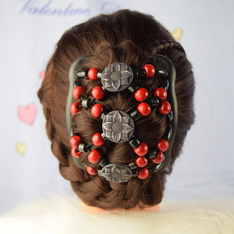 Vintage Beads Elastic Women Hair Styling Double Side Magic Comb Headwear Decor Lady Girls Hair Accessories Color Sent In Random