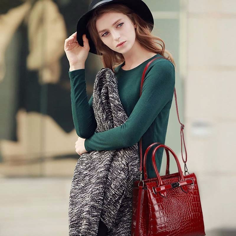 Crocodile Handbag Luxury Handbags Women Crossbody Bags For Designer Shoulder Bag Fashion Pu Leather Messenger Bag Bolsos Mujer in Shoulder Bags from Luggage Bags