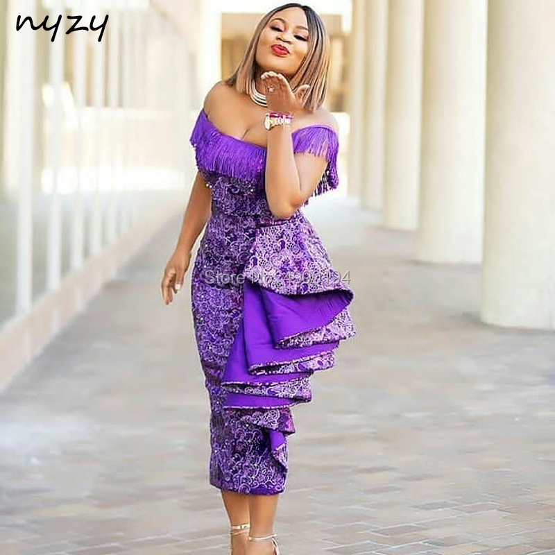 NYZY C26 Elegant Off Shoulder Tea Length Lace   Cocktail     Dress   White Purple vestidos de coctel Party Evening robe de soiree 2019