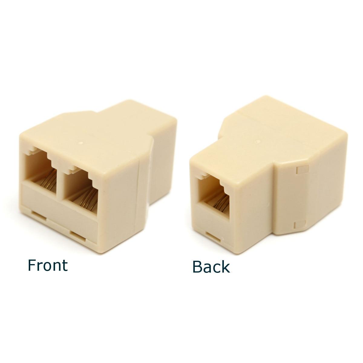 1 To 2 Female RJ11 Telephone Phone Jack Line Y Splitter Adapter Connector Beige