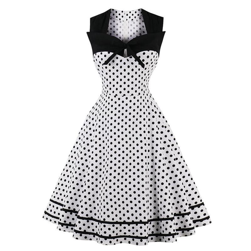 Women Summer Retro Dress Hepburn Style Classic Dots Print Dress Color-blocking Piecing Slim Waist Flare Dress