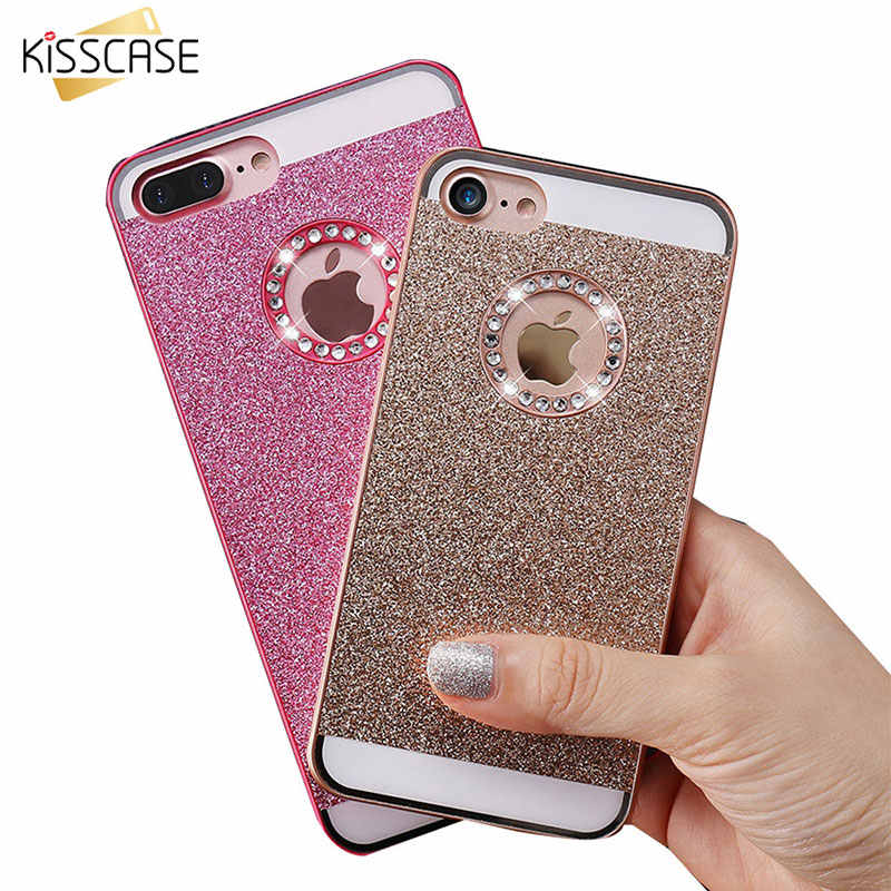 Funda de teléfono KISSCASE Glitter Bling Diamond para iPhone 7 6 6S Plus fundas de PC de lujo para iPhone 7 5 funda trasera dura 5S SE 4S Fudna