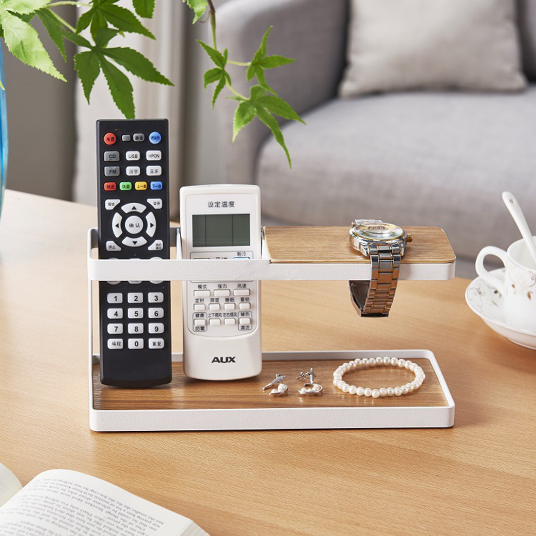 Desktop Storage Rack Multi Function Holder Supporter Organizer Jewellery Stand For Living Room Office Home Black White in Home Office Storage from Home Garden