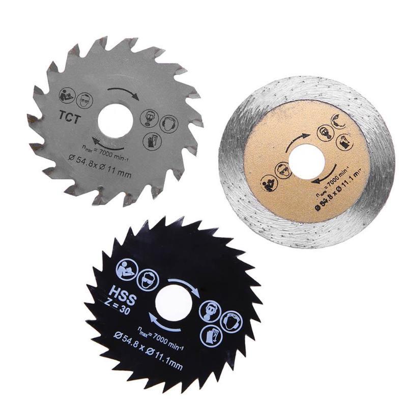3pcs/set 11mm Circular Saw Blades HSS/TCT Woodworking Rotary Tool Cutting Discs Mandrel 55mm Diameter Range For Rotary Tools