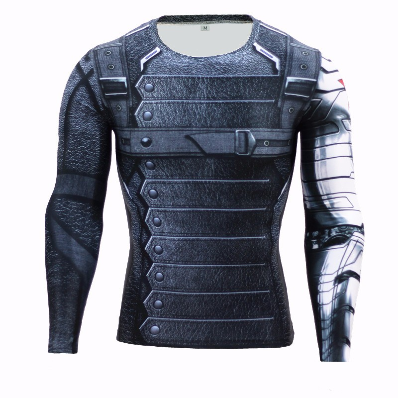 Marvel Superhero Winter Soldier Bucky 3D Men   T     Shirt   Fitness Crossfit   T  -  Shirt   Long Sleeve Compression   Shirt   Mens MMA