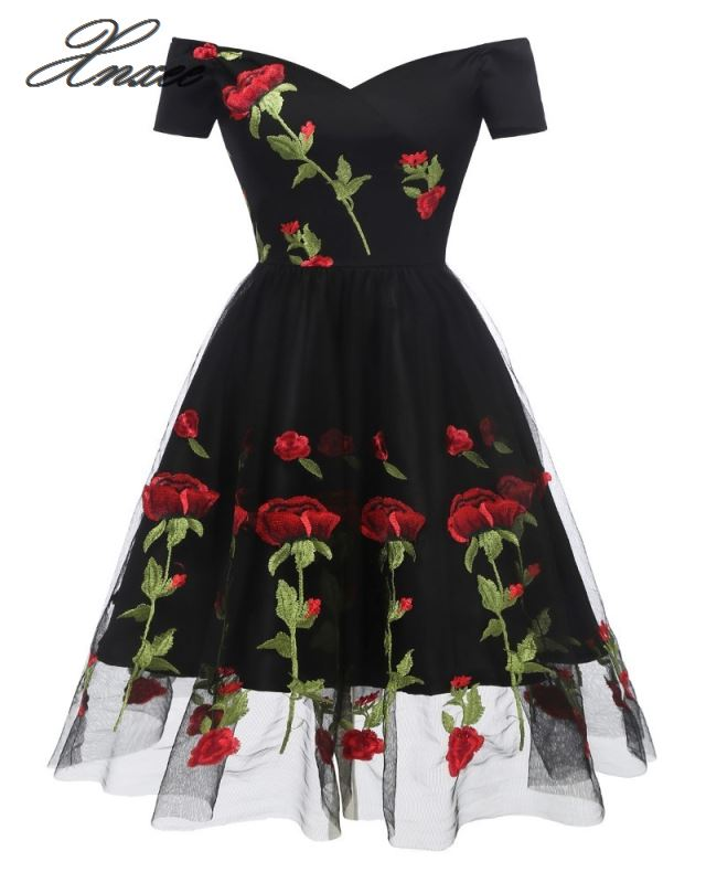 Vintage Rose Embroidery 3d Flowers Dresses 2019 Lace A line Cap Sleeve Sweetheart Neck Knee length Dress in Dresses from Women 39 s Clothing