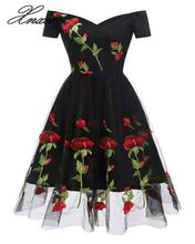 Vintage Rose Embroidery 3d Flowers Dresses 2019 Lace A-line Cap Sleeve Sweetheart Neck Knee-length Dress cactus sweetheart neck vintage dress