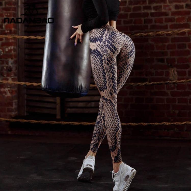 NADANBAO Sexy Push Up Snake Print Leggings Women High Waist Fitness Legging Sporting Workout Leggin For Woman Elastic Slim Pan