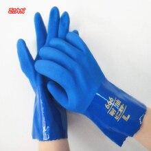 1 Paar Pvc Rubber Olie Slip Handschoenen Zuur En Alkali Bestendig Blauw Voering Katoen Industriële Veiligheid Beschermende Handschoenen
