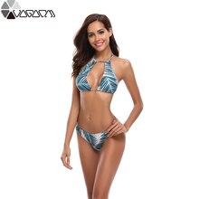 Купить с кэшбэком 2019 New Sexy Bikinis Women Swimwear Push Up Swimsuit Halter Top Biquini Padded Bathing Suit Bandage Brazilian Bikini Set