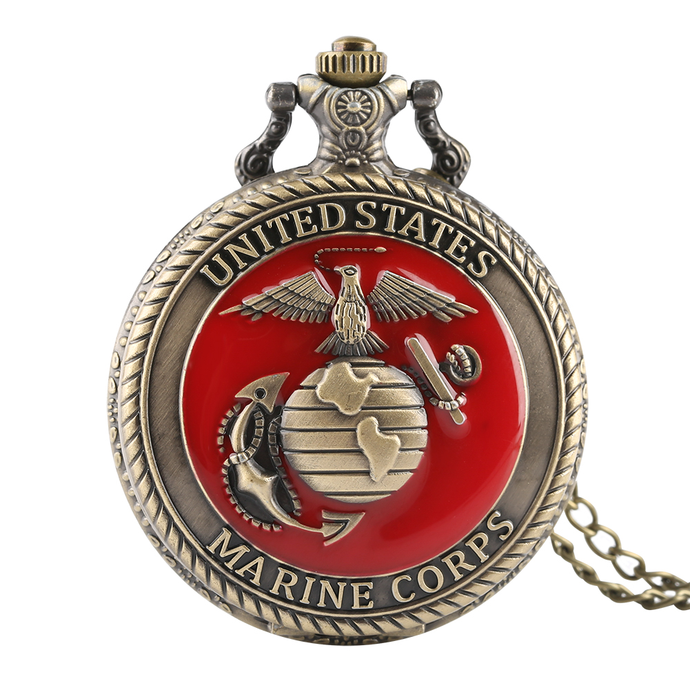 Vintage Quartz Pocket Watch For Men U.S Marine Corps Watches For Boys Flower Carving Pendant Watch Chain For Teens