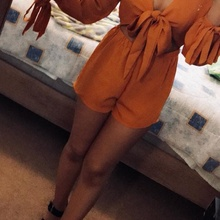 Kenancy Cut Out Rompers Sexy Deep V Neck Bowknot Long Sleeve Jumpsuits Spring Loose Solid Playsuit