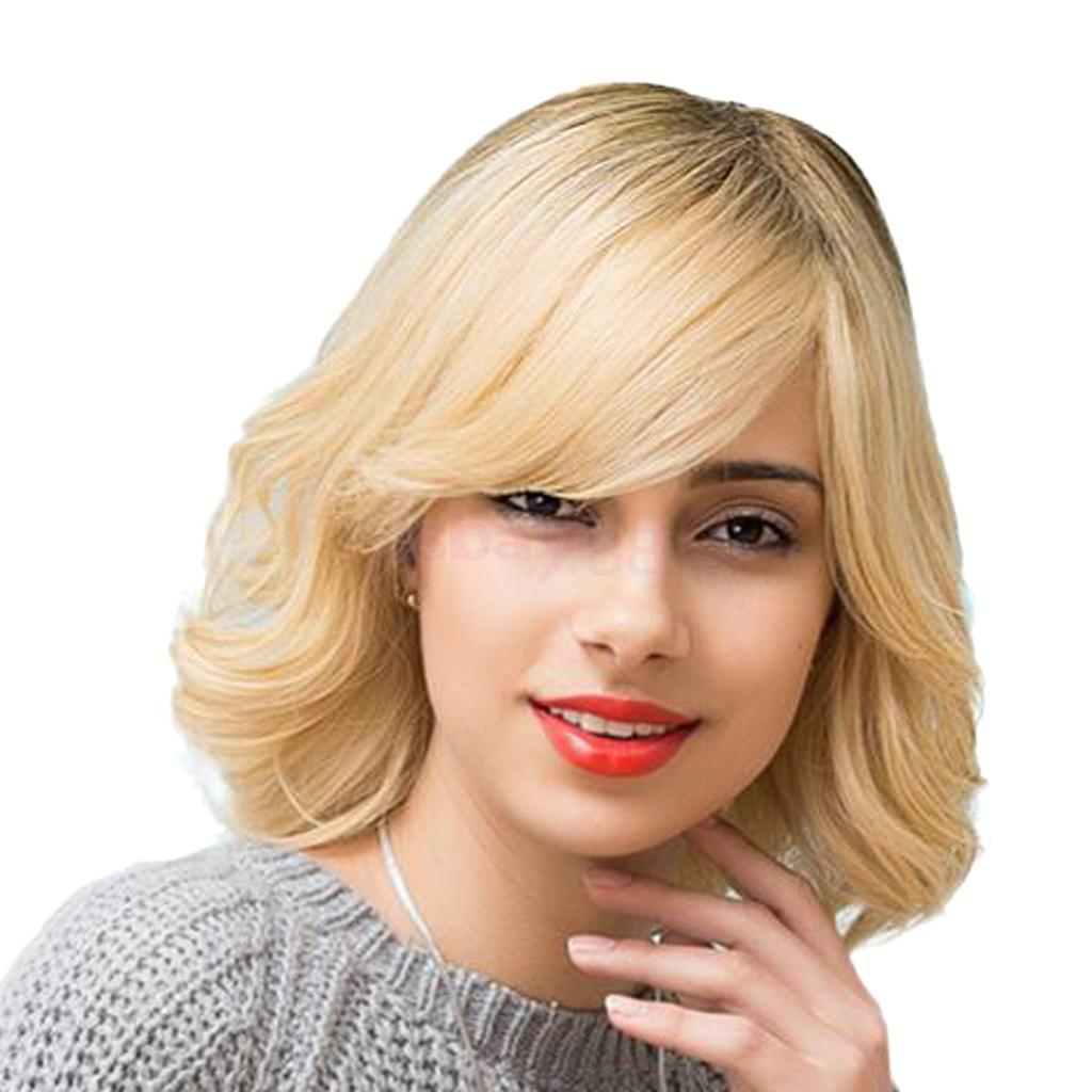 Women Short Bob Style Wig, Real Human Hair, Natural Straight Curly Ombre Gold with Side Bangs Wigs for Daily & Wedding Wear stylish short capless side bang synthetic fluffy brown highlight curly bump wig for women