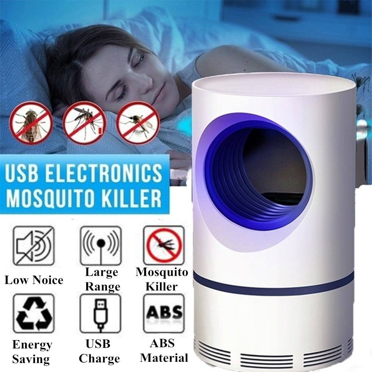 Electric Mosquito Killer Lamp LED Bug Anti Mosquito Killer Lamp Insect Trap Lamp Killer Home Living Room Office Pest Control