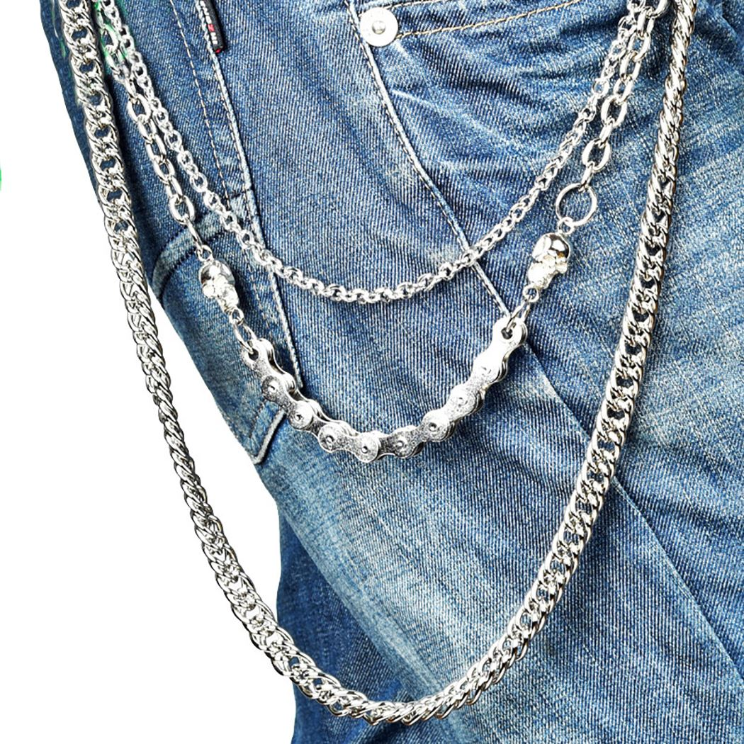 3 Layer Waist Punk Wallet Chain Silver Men's Keychains Skull Biker Link Hook Trousers Pant Belt Chain Fashion Jewelry For Boys