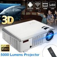 5000 люмен 1080 P Full HD 3D светодиодный проектор Android 4,4 дома Театр Кино беспроводная Мультимедиа HDMI USB AV с дистанционное управление