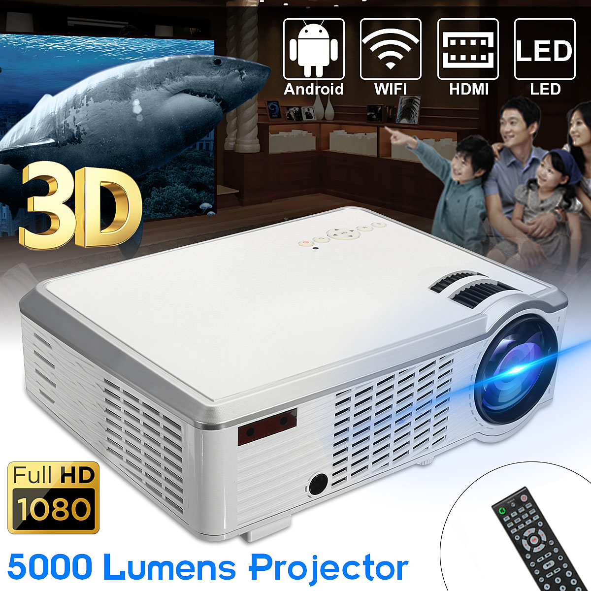 5000 Lumens 1080P Full HD 3D LED Projector Android 4.4 Home Theater Cinema Multimedia Wireless HDMI USB AV with Remote Control стоимость